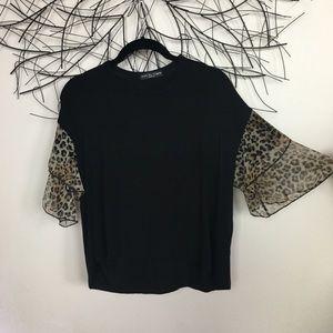 Leopard print sleeve soft KIM & CAMI blouse. Black
